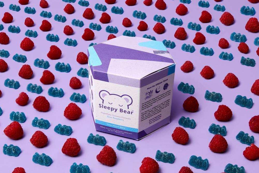 Sleepy Bear Nightime Gummy in Sour Raspberry Flavor