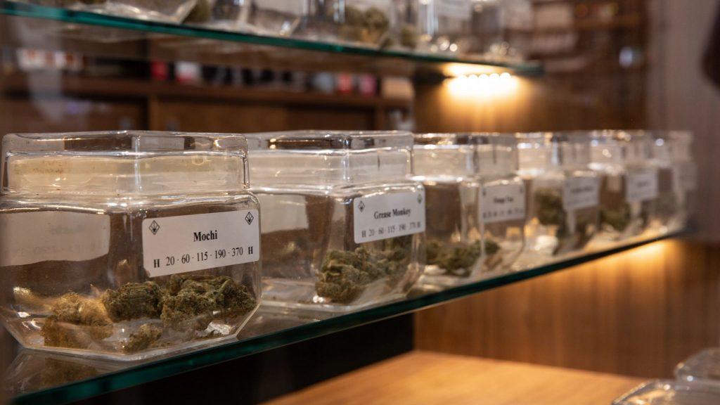 Jars of cannabis lining a dispensary shelf