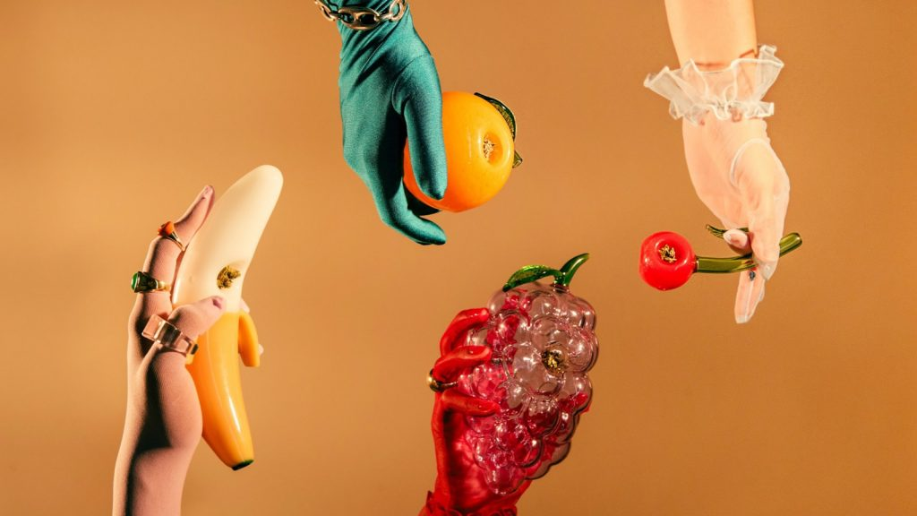 Edie Parker: Launch of new glass fruit pipes